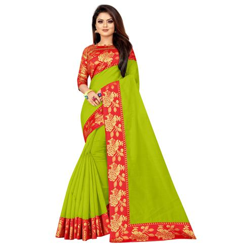 Wazood - Parrot Green Colored Festive Wear Jacquard Lace Cotton Silk Saree
