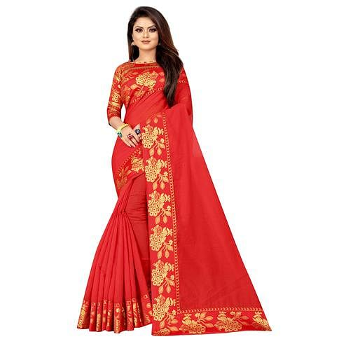 Wazood - Red Colored Festive Wear Jacquard Lace Cotton Silk Saree