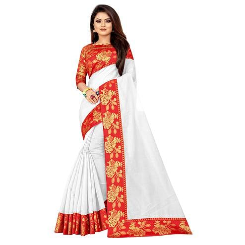 Wazood - White Colored Festive Wear Jacquard Lace Cotton Silk Saree