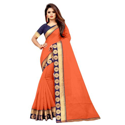 Wazood - Orange Colored Festive Wear Jacquard Lace Chanderi Cotton Silk Saree