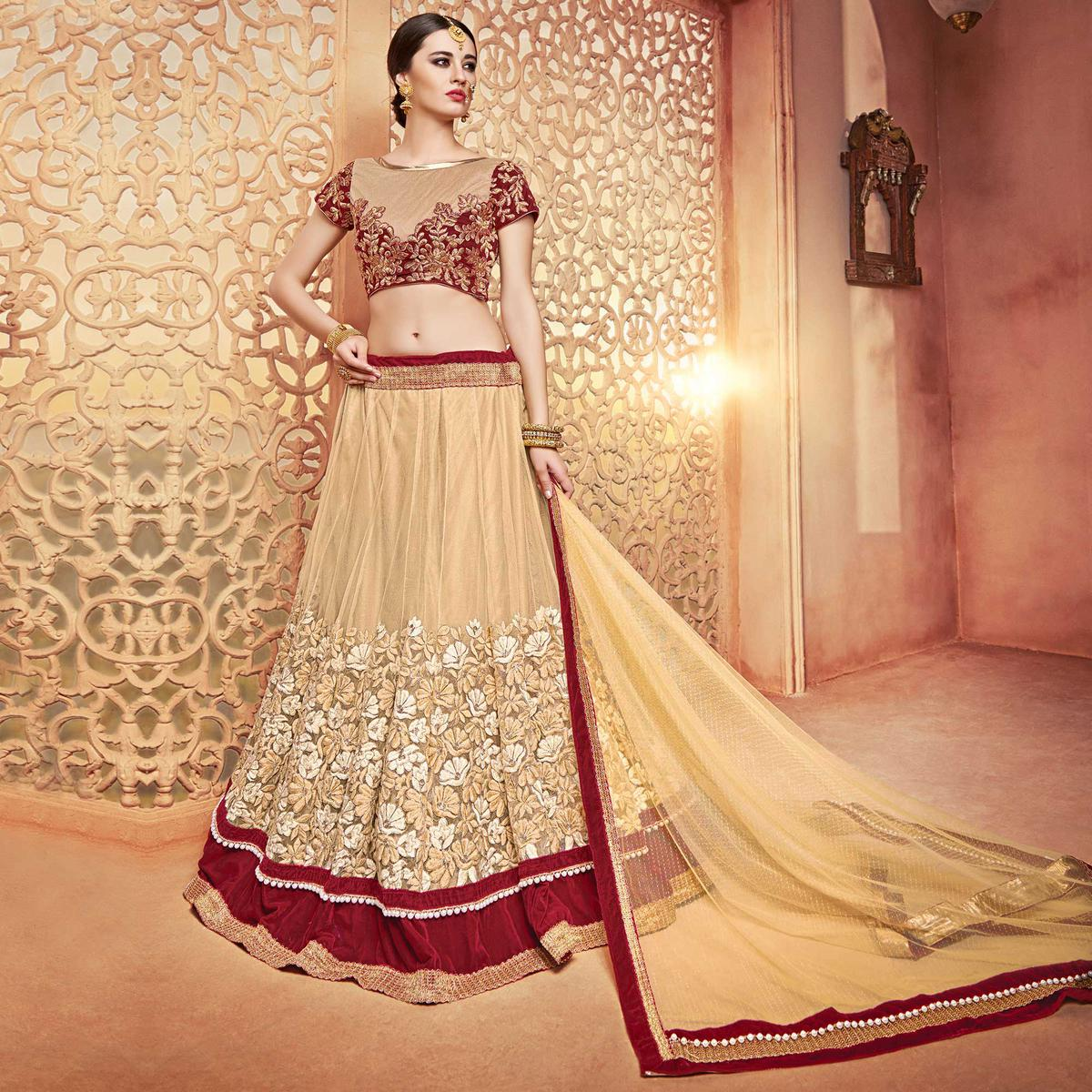 Sizzling Beige-Maroon Designer Embroidered Butterfly Net Lehenga Choli