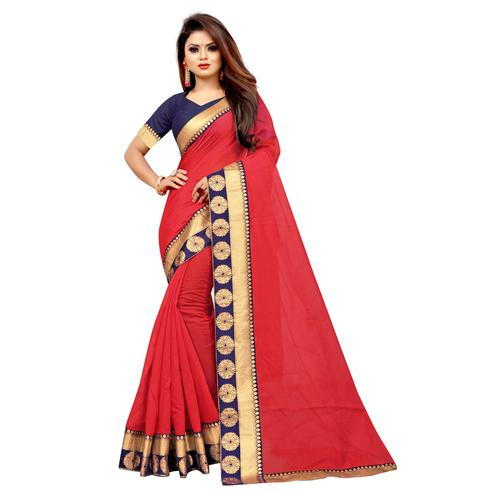 Wazood - Red Colored Festive Wear Jacquard Lace Chanderi Cotton Silk Saree