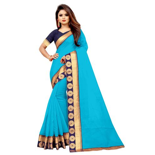 Wazood - Sky Blue Colored Festive Wear Jacquard Lace Chanderi Cotton Silk Saree