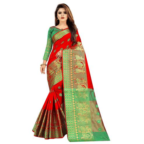 Wazood - Red Colored Festive Wear Woven Banarasi Cotton Silk Saree