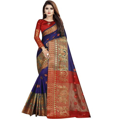 Wazood - Navy Blue Colored Festive Wear Woven Banarasi Cotton Silk Saree