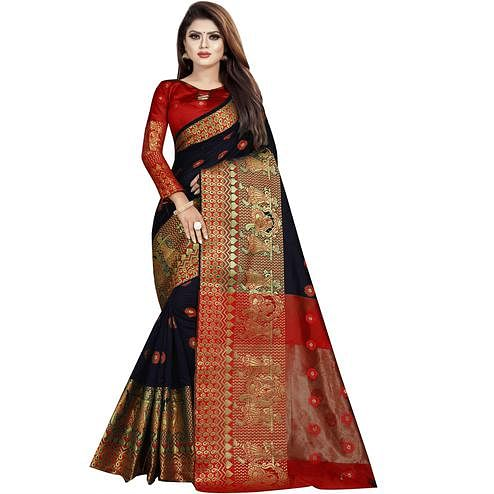 Wazood - Black Colored Festive Wear Woven Banarasi Cotton Silk Saree