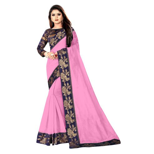 Wazood - Baby Pink Colored Party Wear Jacquard Border Cotton Silk Saree