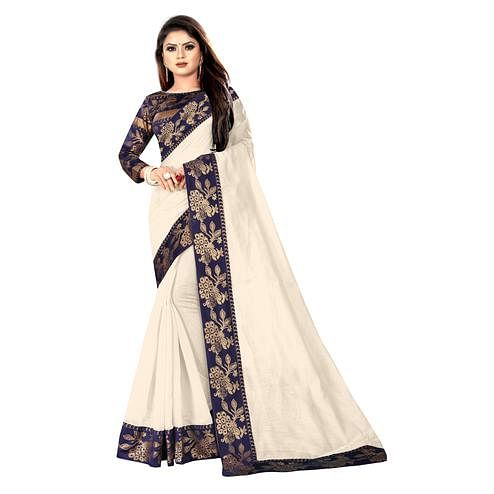 Wazood - Cream Colored Party Wear Jacquard Border Cotton Silk Saree