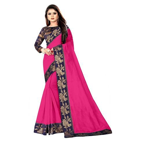 Wazood - Pink Colored Party Wear Jacquard Border Cotton Silk Saree