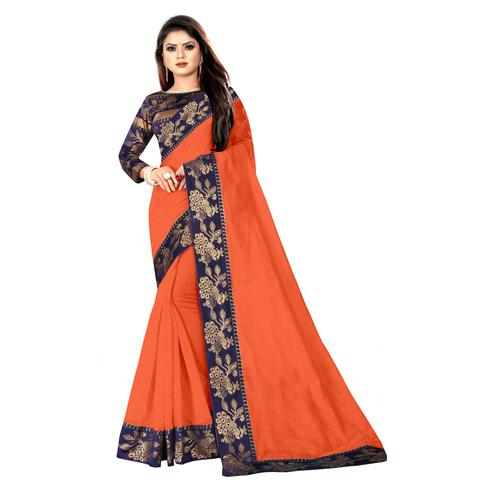 Wazood - Orange Colored Party Wear Jacquard Border Cotton Silk Saree