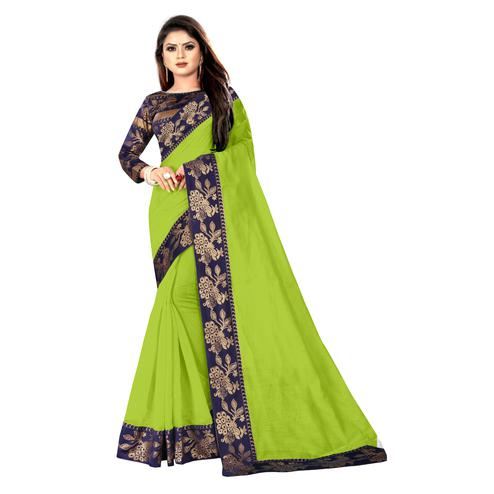 Wazood - Parrot Green Colored Party Wear Jacquard Border Cotton Silk Saree