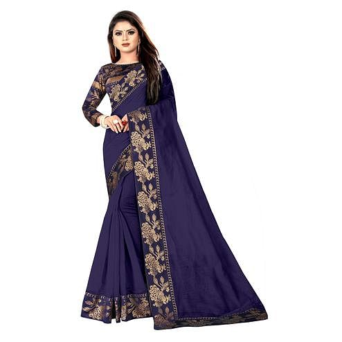 Wazood - Navy Blue Colored Party Wear Jacquard Border Cotton Silk Saree