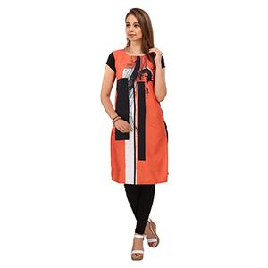 Orange - Black Casual Wear Kurti