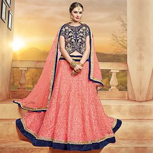 Mesmerising Peach-Navy Designer Embroidered Velvet & Net Lehenga Choli