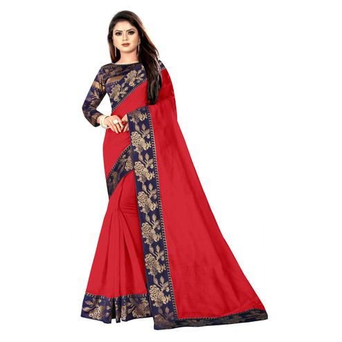 Wazood - Red Colored Party Wear Jacquard Border Cotton Silk Saree
