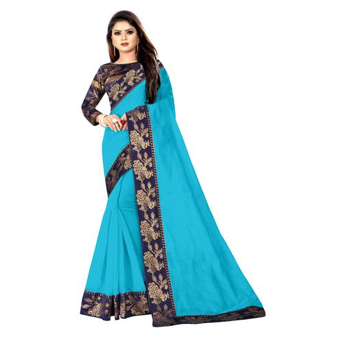 Wazood - Sky Blue Colored Party Wear Jacquard Border Cotton Silk Saree