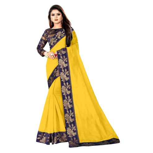 Wazood - Yellow Colored Party Wear Jacquard Border Cotton Silk Saree