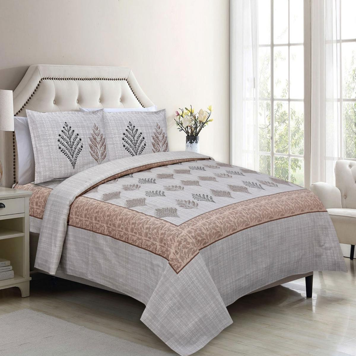 Diva Collection - Off White Colored Jaipuri Print Cotton Double Bedsheet with 2 Pillow Cover