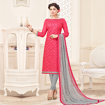 Red-Gray Embroidered Partywear Cotton Salwar Suit