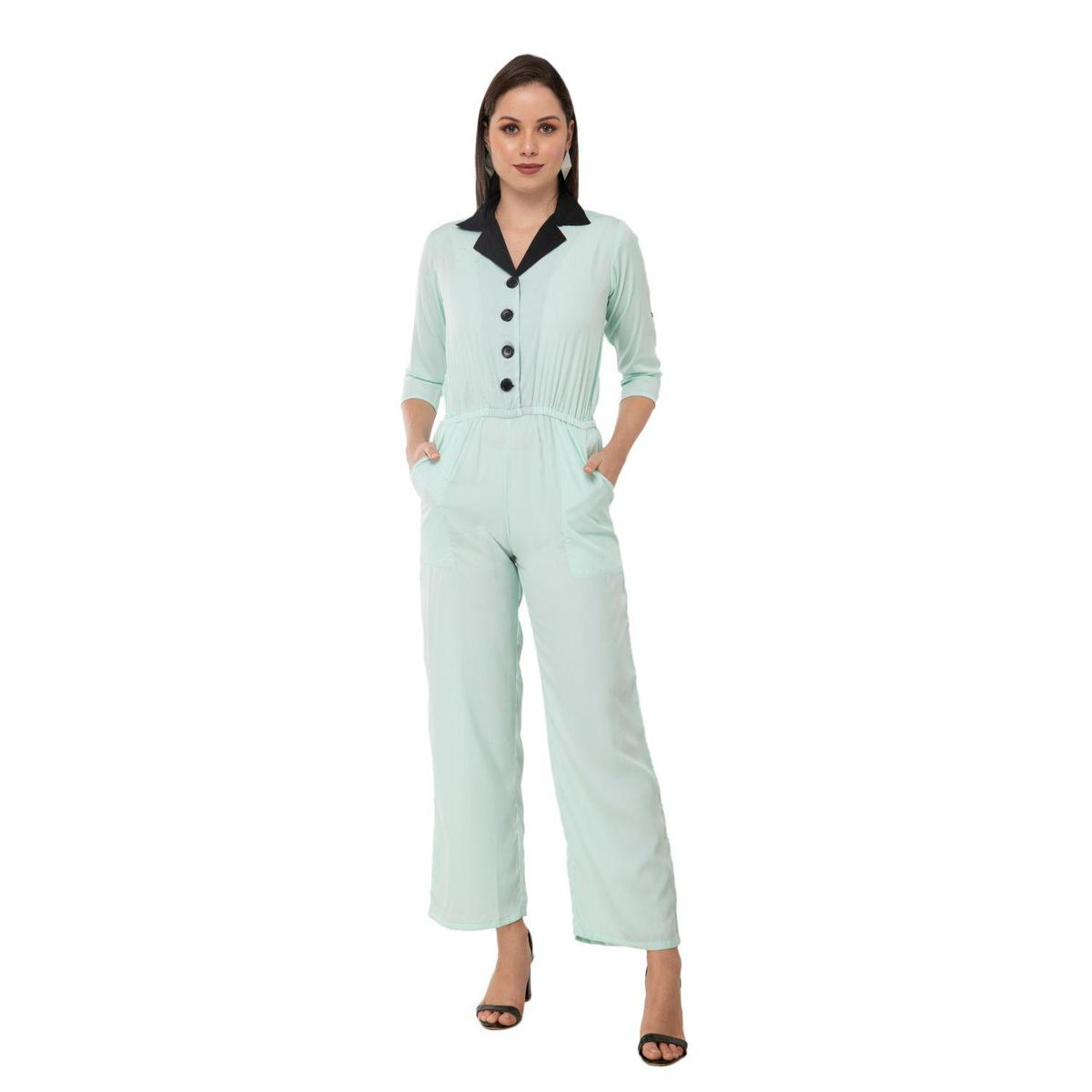 Taaraa - Light turquoise Blue Colored Casual Solid Crepe Jumpsuit