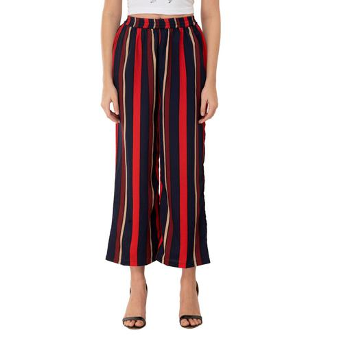 Taaraa - Multi Colored Casual Striped Printed Crepe Palazzo