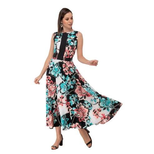 Taaraa - Blue Colored Casual Floral Printed Crepe Dress