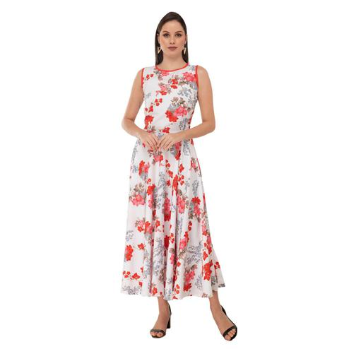 Taaraa - White Colored Casual Floral Printed Crepe Dress
