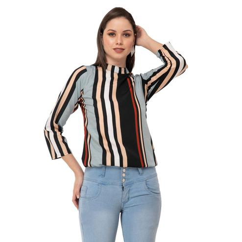 Taaraa - Multi Colored Casual Striped Printed Crepe Top