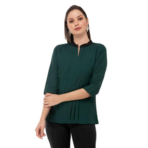 Taaraa - Green Colored Casual Solid Crepe Top