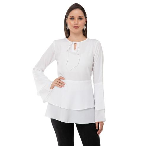 Taaraa - White Colored Casual Solid Crepe Top