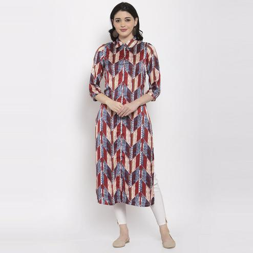 Aujjessa - Maroon Colored Casual Geometric Printed Satin Crepe Kurti