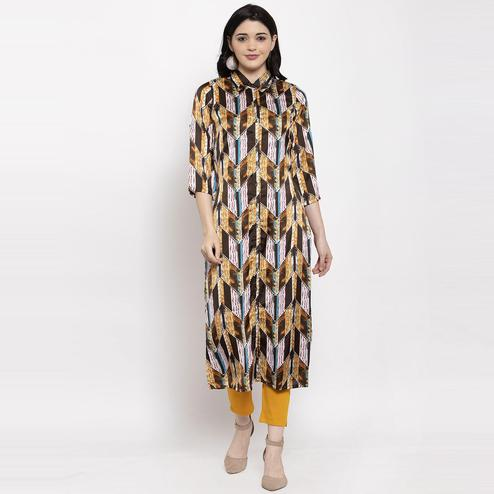 Aujjessa - Brown Colored Casual Geometric Printed Satin Crepe Kurti