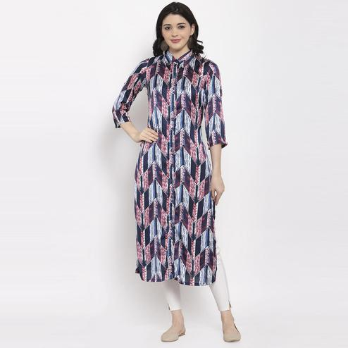 Aujjessa - Navy Blue Colored Casual Geometric Printed Satin Crepe Kurti