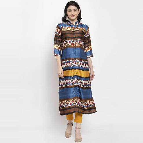 Aujjessa - Blue Colored Casual Geometric Printed Satin Crepe Kurti