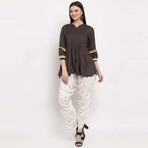 Aujjessa - Brown Colored Casual Solid Rayon Tunic Dhoti Set