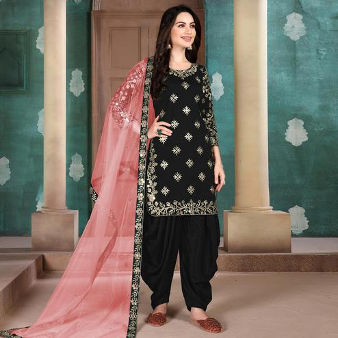 Excellent Black Colored Designer Partywear Embroidered Heavy Art Silk Patiala Suit