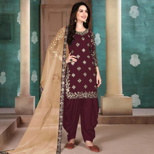 Marvellous Maroon Colored Designer Partywear Embroidered Heavy Art Silk Patiala Suit