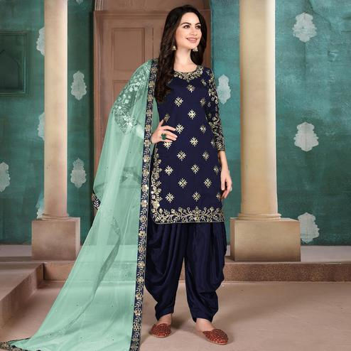 Flamboyant Blue Colored Designer Partywear Embroidered Heavy Art Silk Patiala Suit