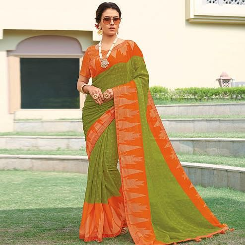 Glorious Green Colored Festive Wear Woven Brasso Saree