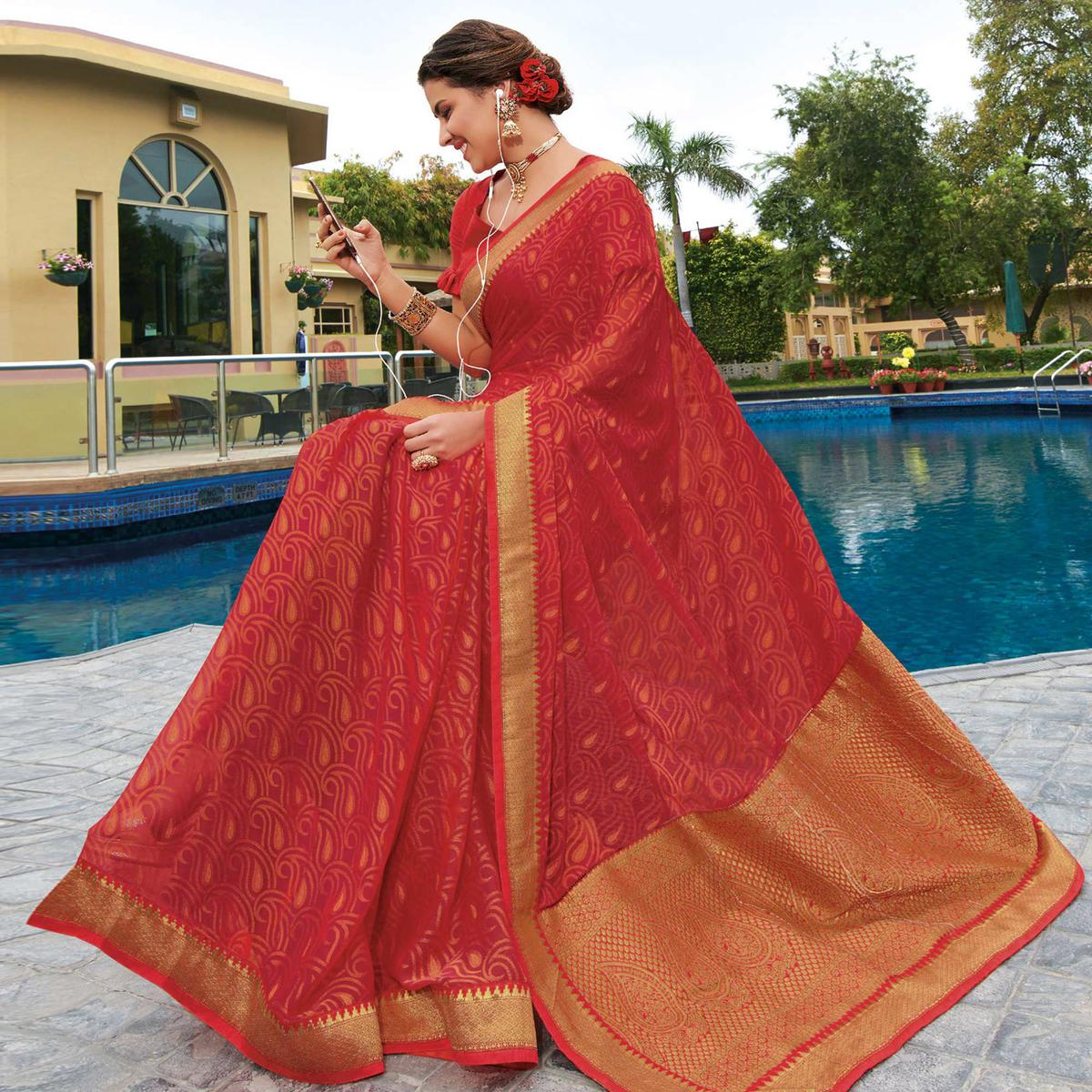 Attractive Red Colored Festive Wear Woven Brasso Saree