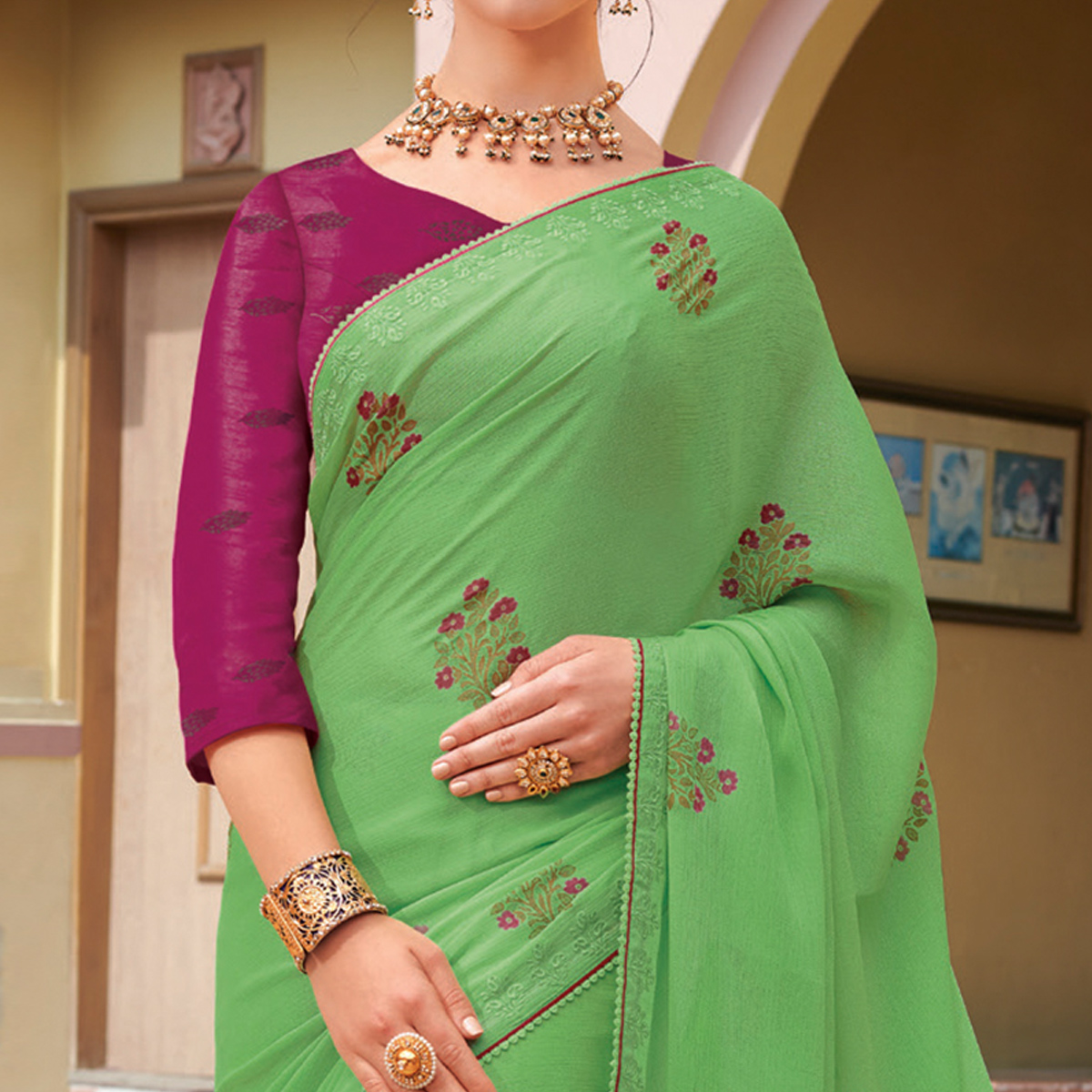 Blooming Pista Green Colored Partywear Printed Chiffon Georgette Sareee