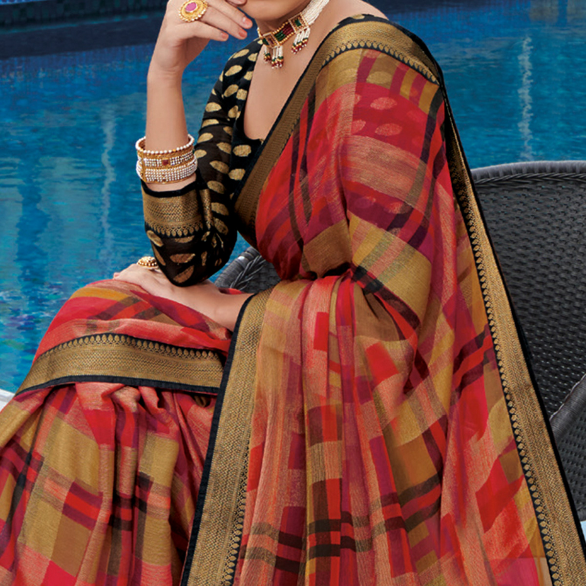 Charming Multi Colored Festive Wear Woven Brasso Saree