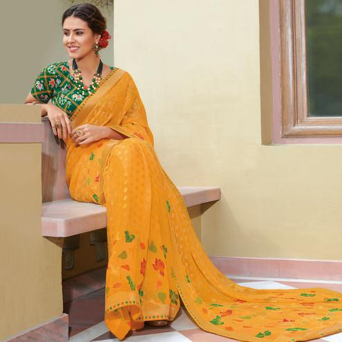 Delightful Yellow Colored Festive Wear Woven Brasso Saree