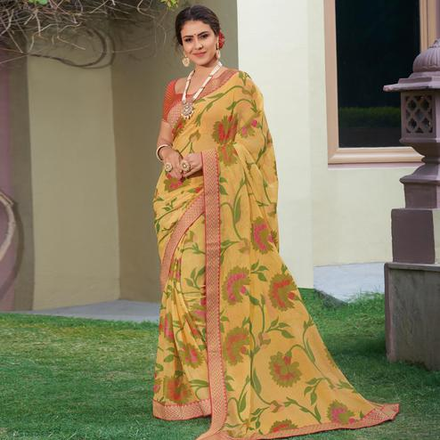 Engrossing Beige Colored Festive Wear Woven Brasso Saree