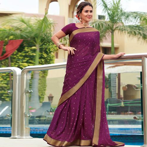 Eye-catching Purple Colored Festive Wear Woven Brasso Saree