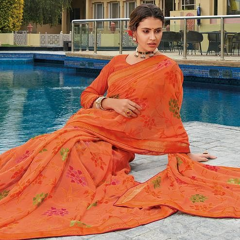 Amazing Peach Colored Festive Wear Woven Brasso Saree