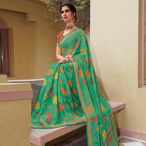 Mesmerising Pista Green Colored Festive Wear Woven Brasso Saree