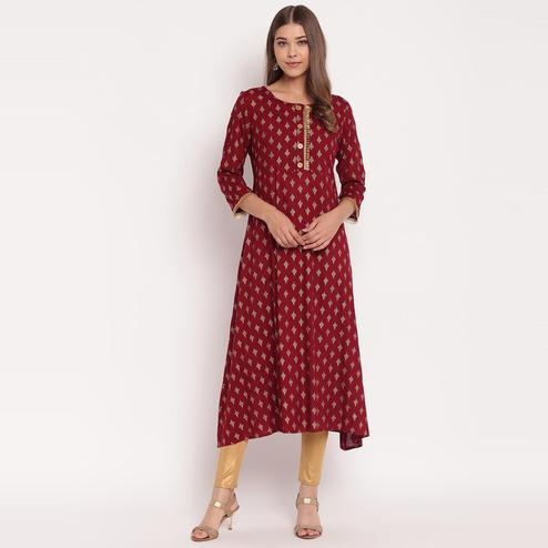 Arresting Maroon Colored Party Wear Floral Print Ankle Length Rayon Kurti