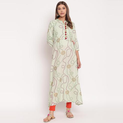 Desirable Light Green Colored Party Wear Floral Print Ankle Length Rayon Kurti