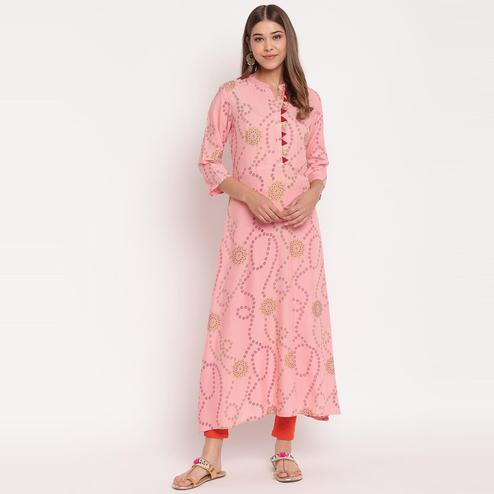 Exotic Pink Colored Party Wear Floral Print Ankle Length Rayon Kurti